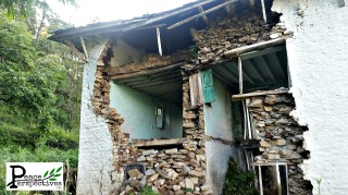 A house left in ruins after the earthquake.